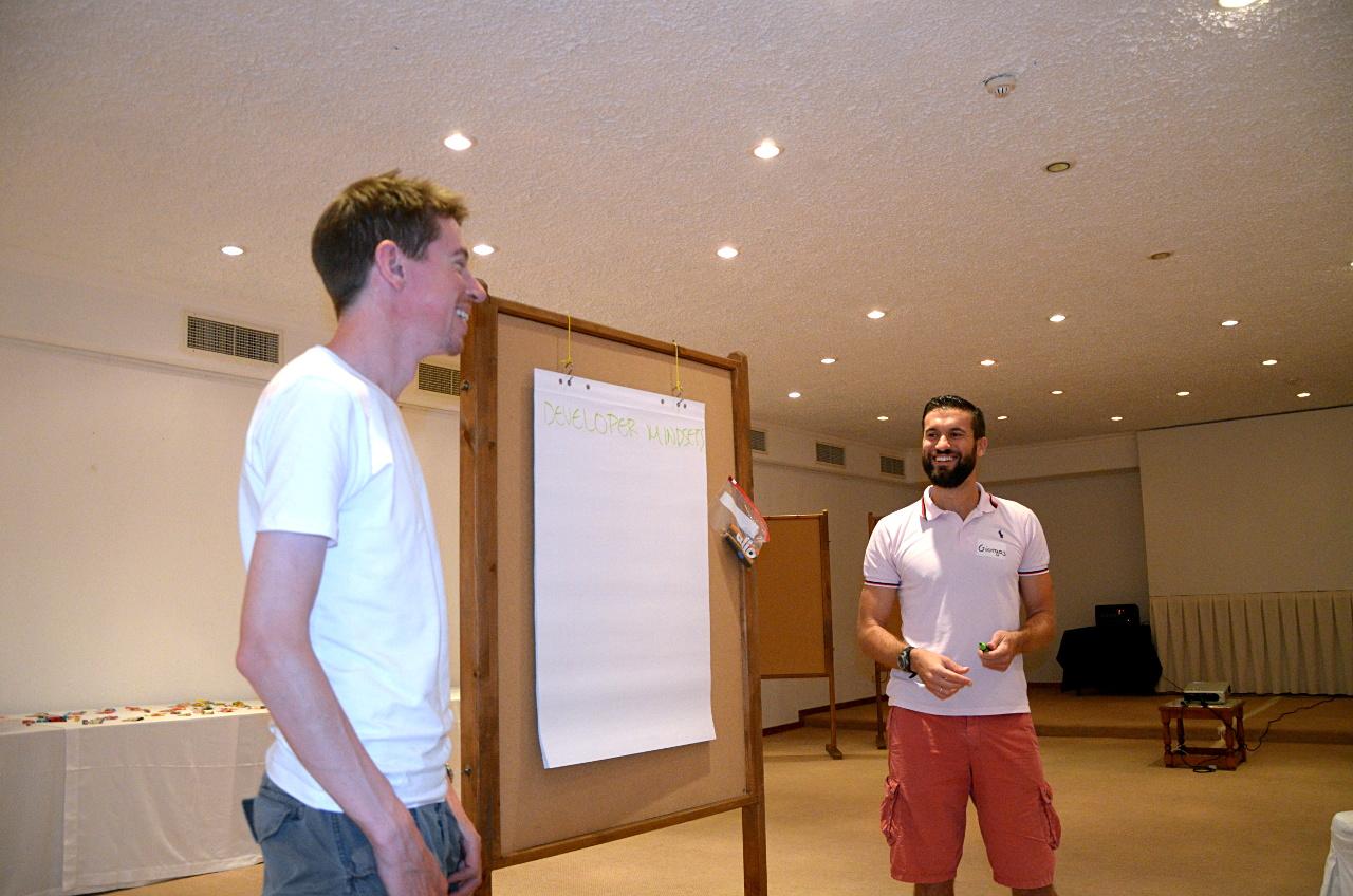 James (Australian living in Sweden) and Giorgos (Greek) open a session on developer mindsets